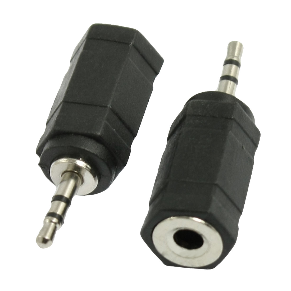 2 Pcs Black DC 3.5mm Female to 2.5mm Male Plug Adpater Connector