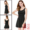 Ladies Dual U Neck Sleeveless Velvet Tank Dress Solid Black M