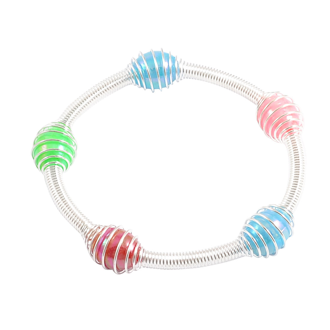 Ladies Oval Shaped Plastic Beads Detail Stretchy Bracelet Bangle