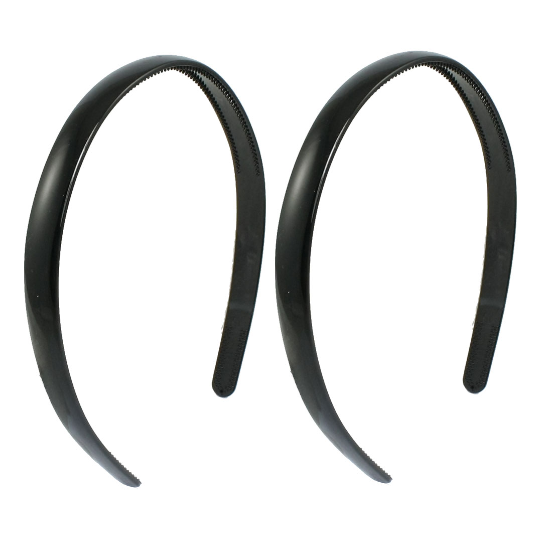 Women Hairdressing DIY Black Plastic Hair Hoop Head Band 2 Pcs
