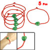 5 Pcs Heart Green Faux Jade Detail Lucky Braided Red Rope String Bracelet