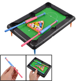 Child Black Plastic Table Cue Sports Mini Billiards Toy Set 5 in 1