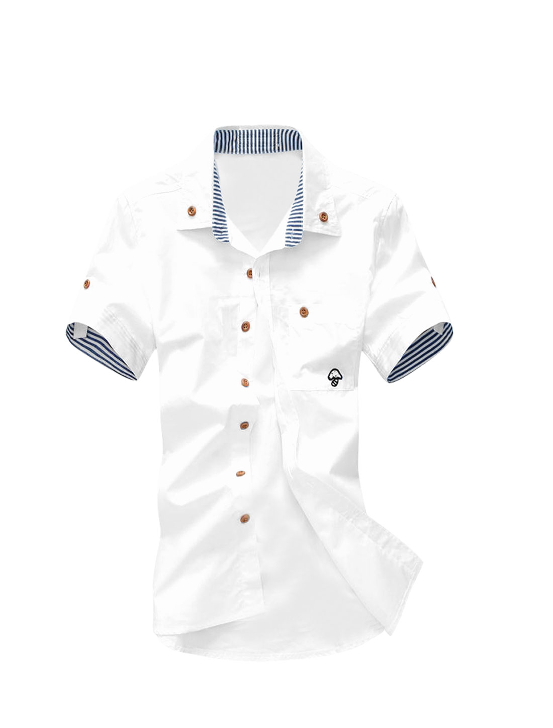 Mens Casual NEW Stylish White Single Breasted Trendy Summer Shirt Tops XS