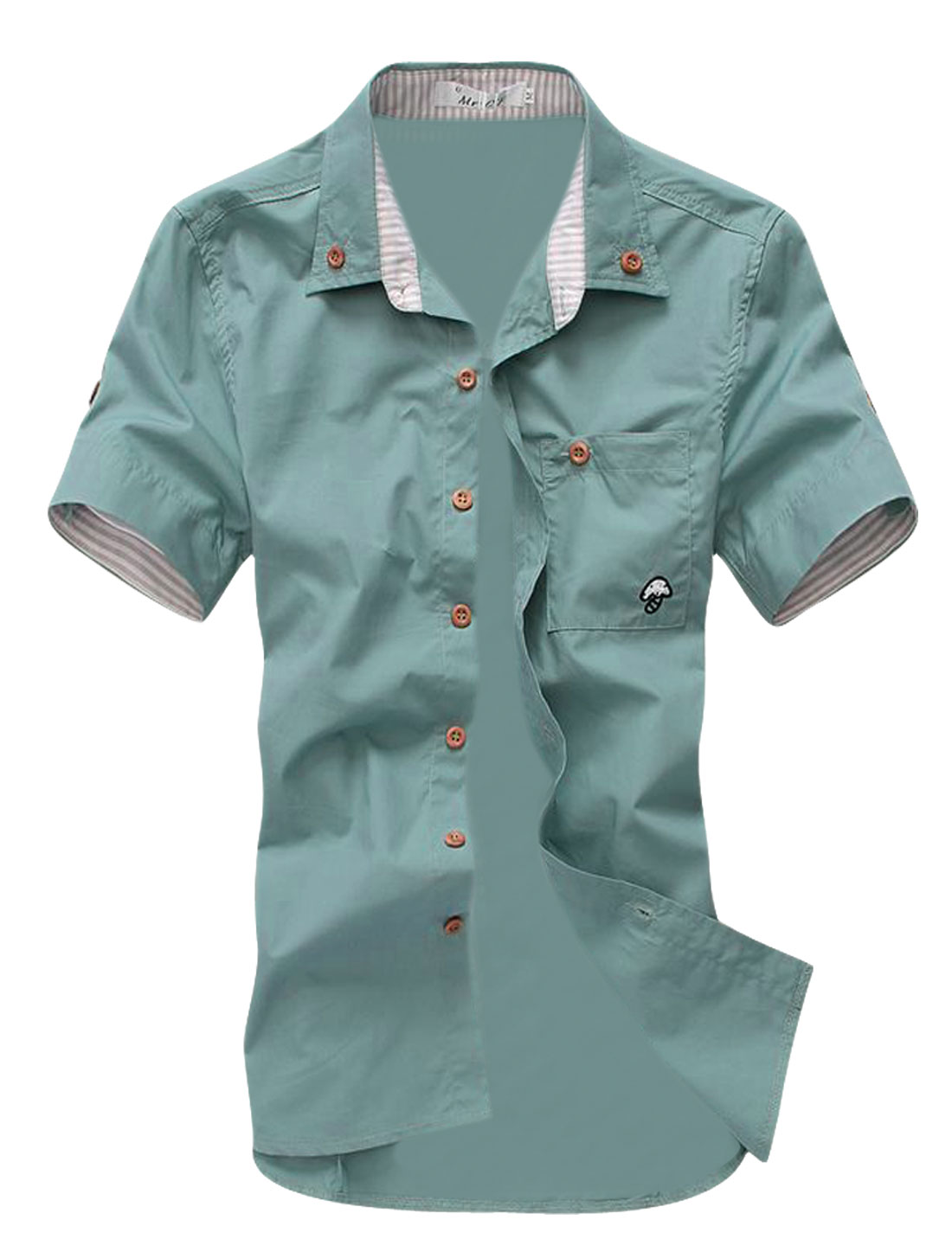 Mens NEW Fashion Mint Green Short Sleeve Casual Summer Shirt Tops XS