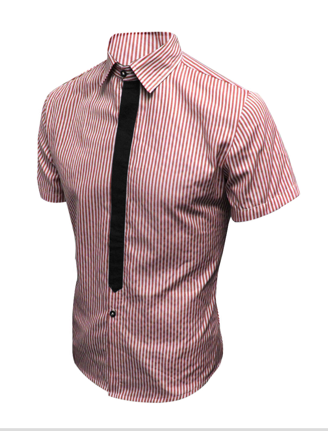 Mens Summer Casual Red Vertical Stripes Pattern NEW Fashion Shirt Tops S