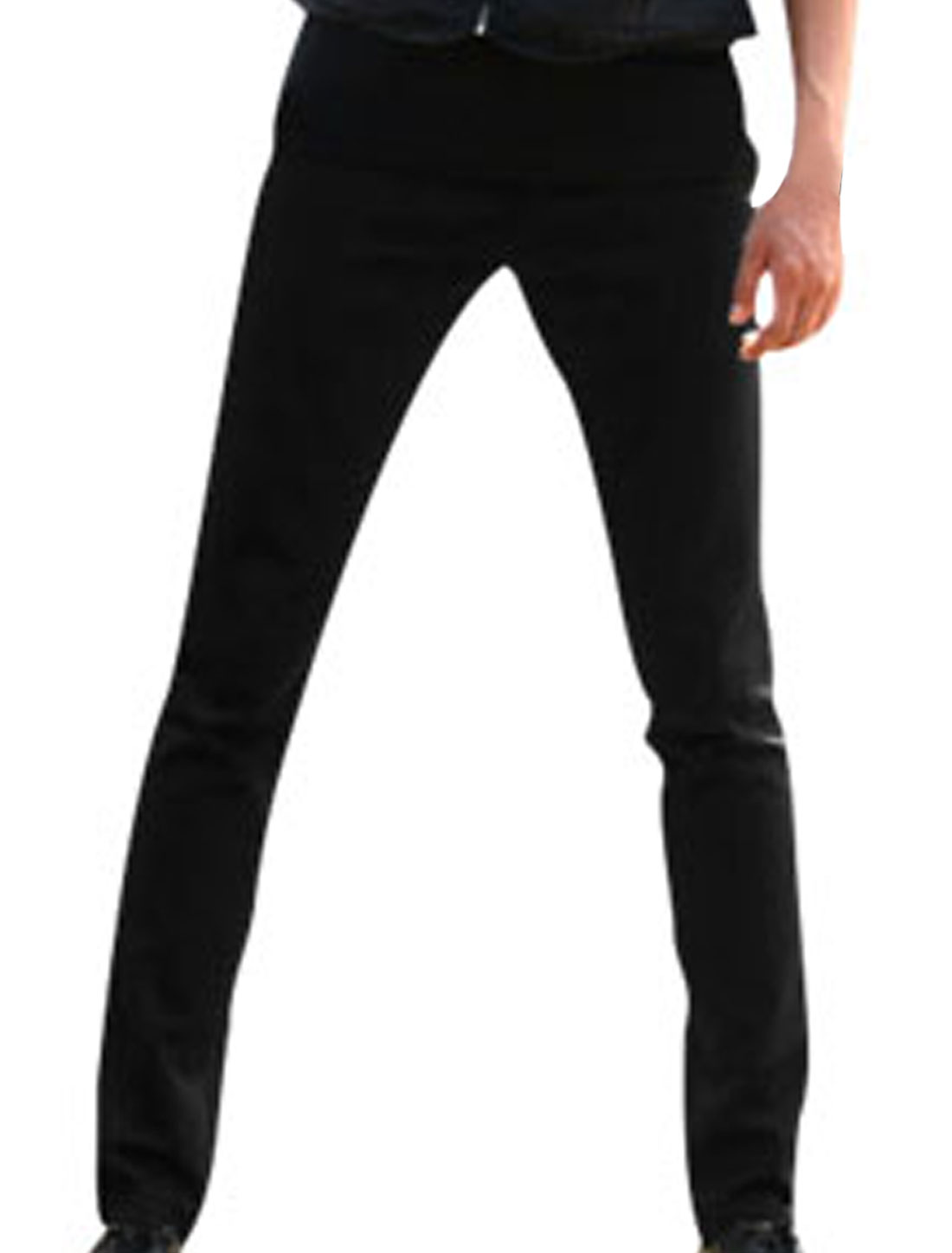Mens Black Zip Fly NEW Stylish Fashion Casual Straight Trousers W31