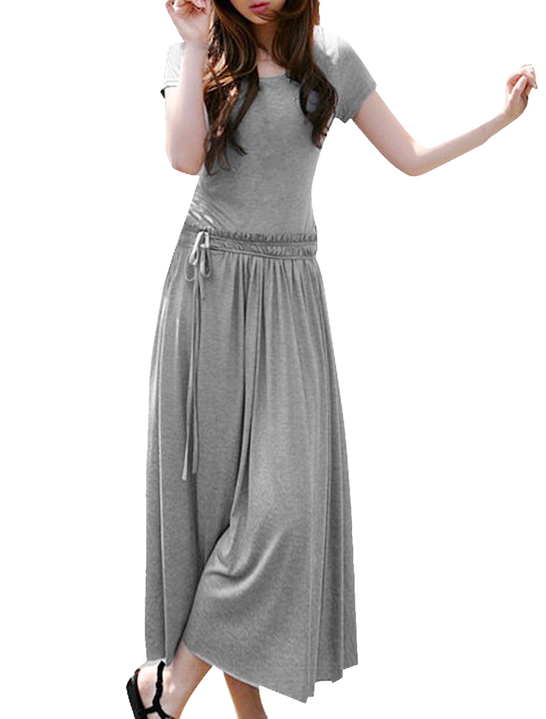 Woman Drawstring Waist Short Sleeve Full-length Dress Heather Gray L