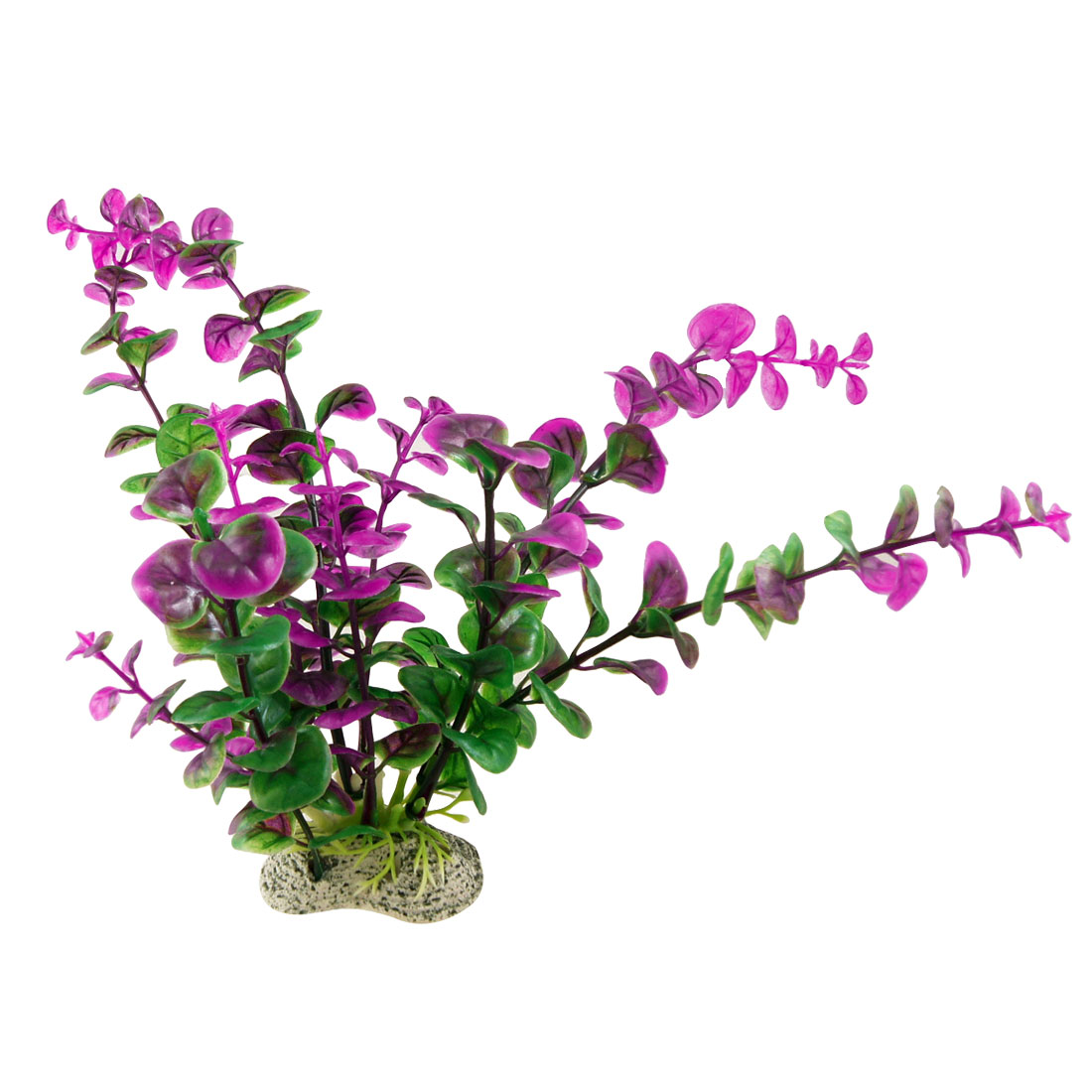 "Fish Tank 8"" Height Fuchsia Green Plastic Plant Grass Decoration"