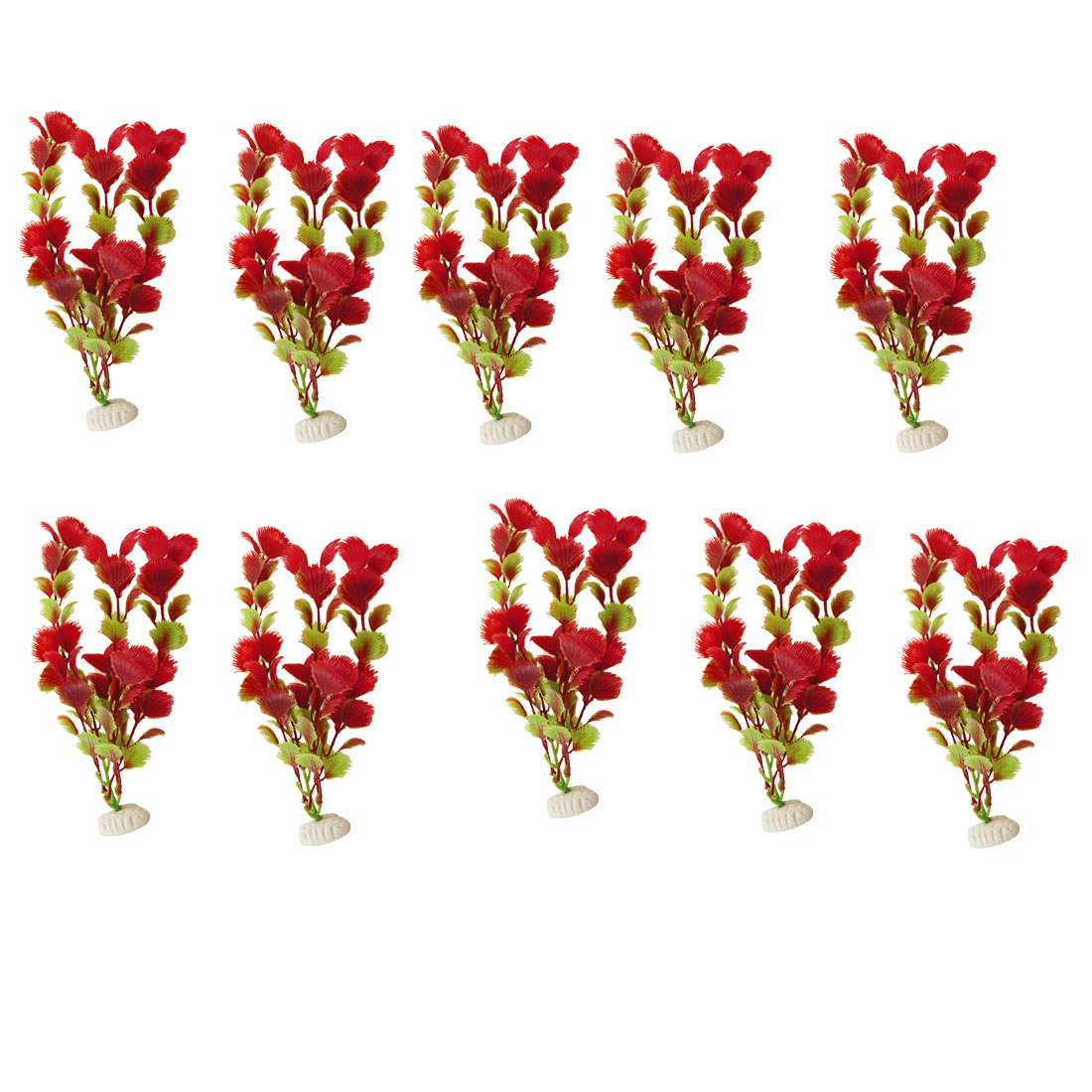 10 Pcs Aquarium Green Red Artificial Plastic Plant Ornament