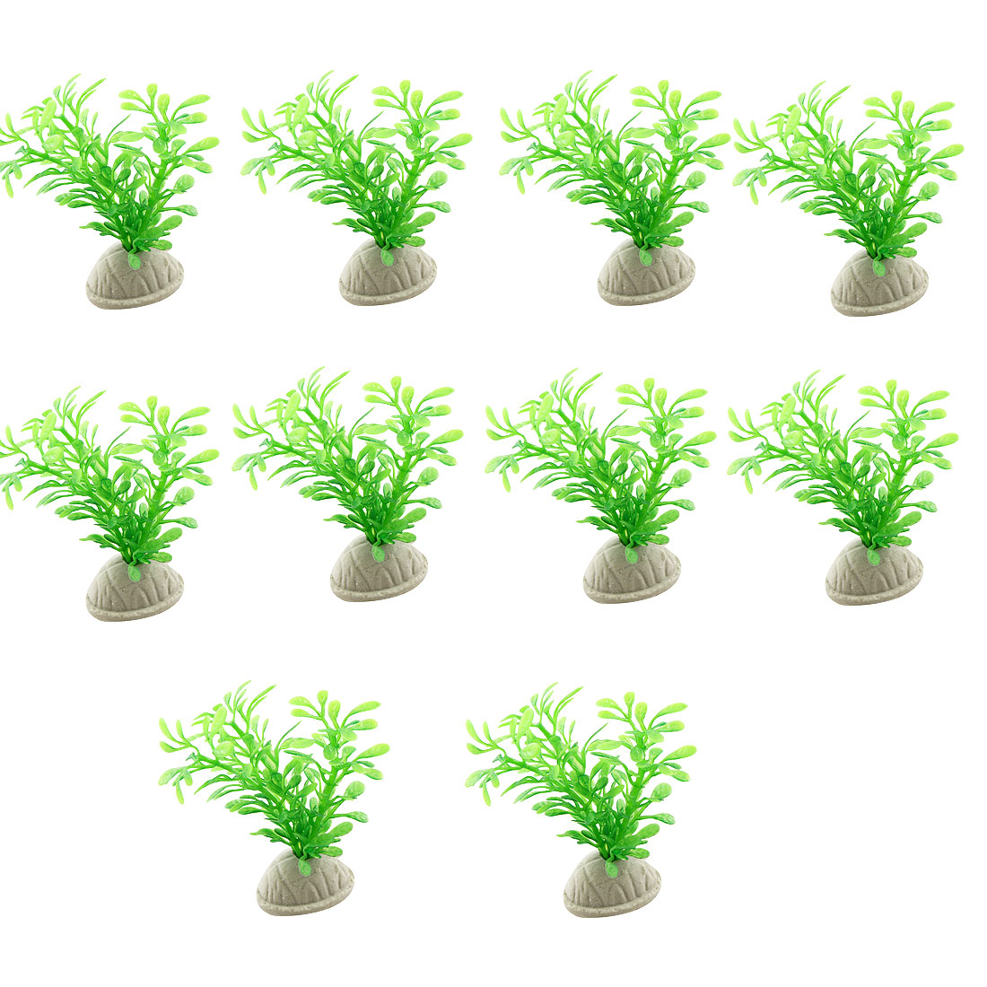 10 Pcs Green Plastic Grass Plant Ornament for Fish Tank