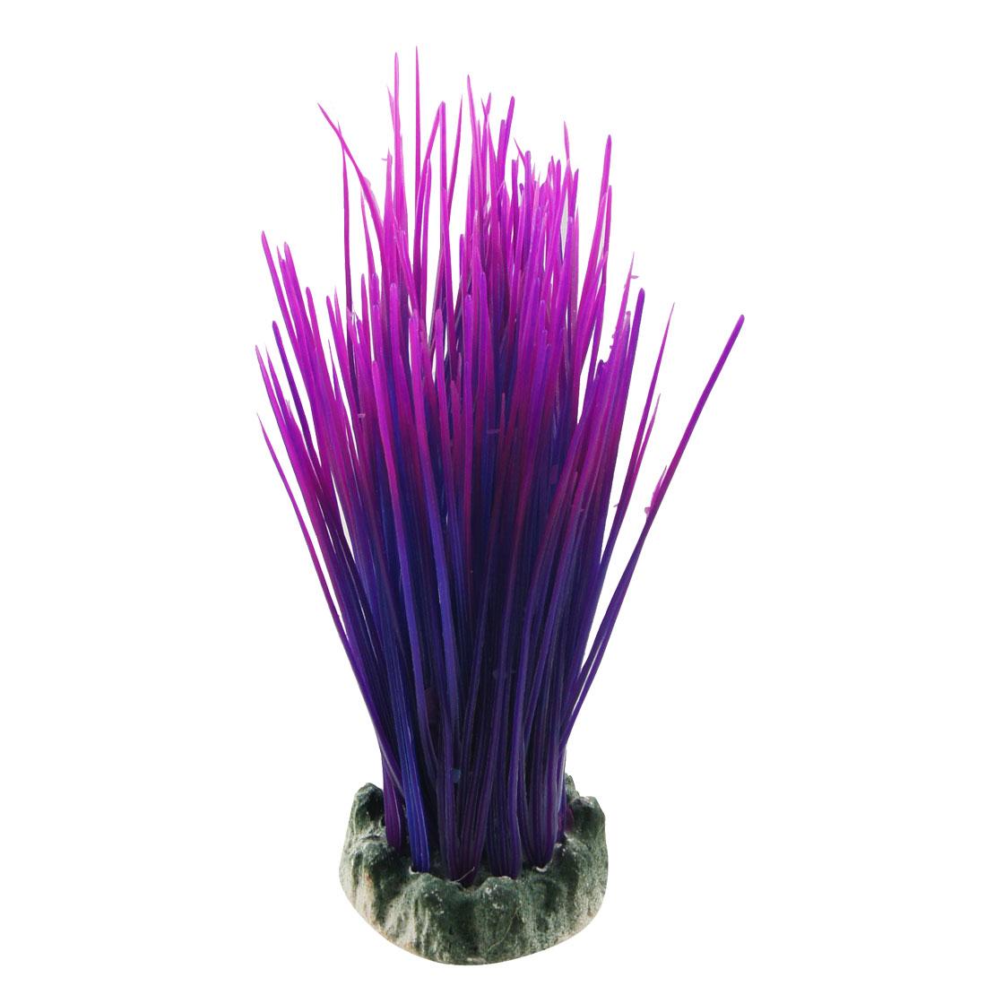 """Aquarium Purple Fuchsia 8.3"""" Plastic Simulated Grass Plant Decor"""