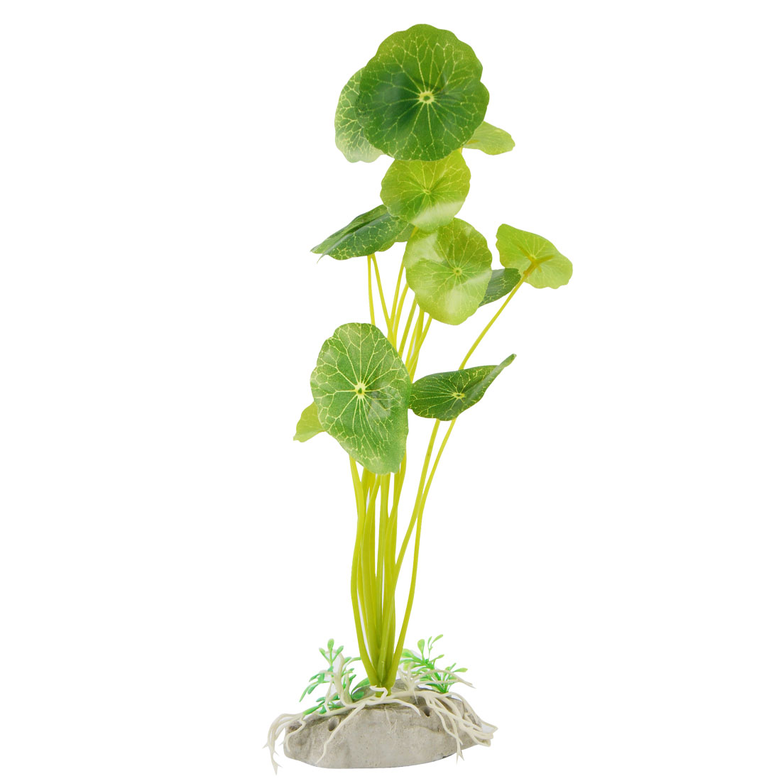"Green Plastic Round Leaf Plant Grass Decor 9.4"" Height for Fish Tank"