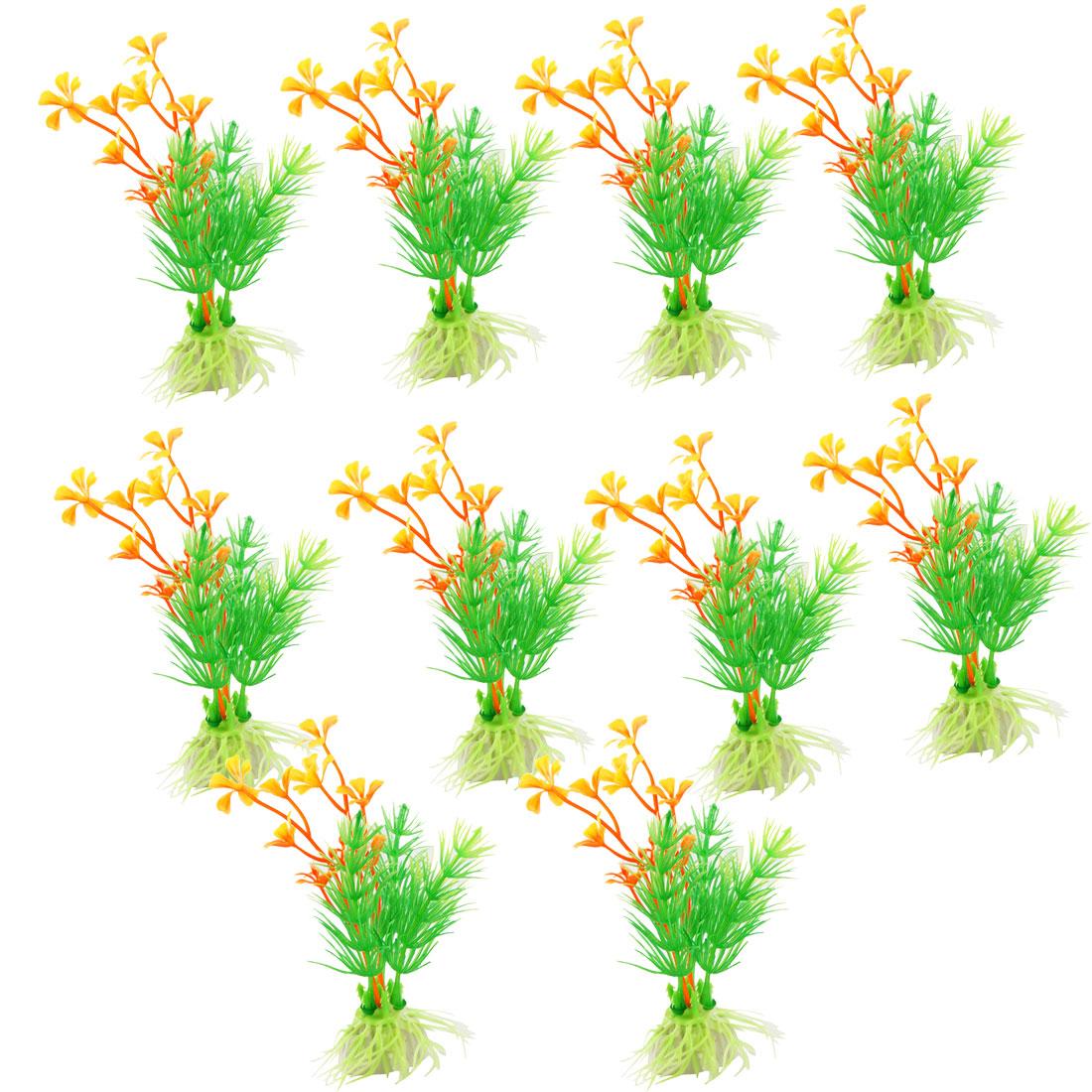 "10 Pcs 4.5"" Height Plastic Grass Plant Green Orange Yellow for Fish Tank Decor"