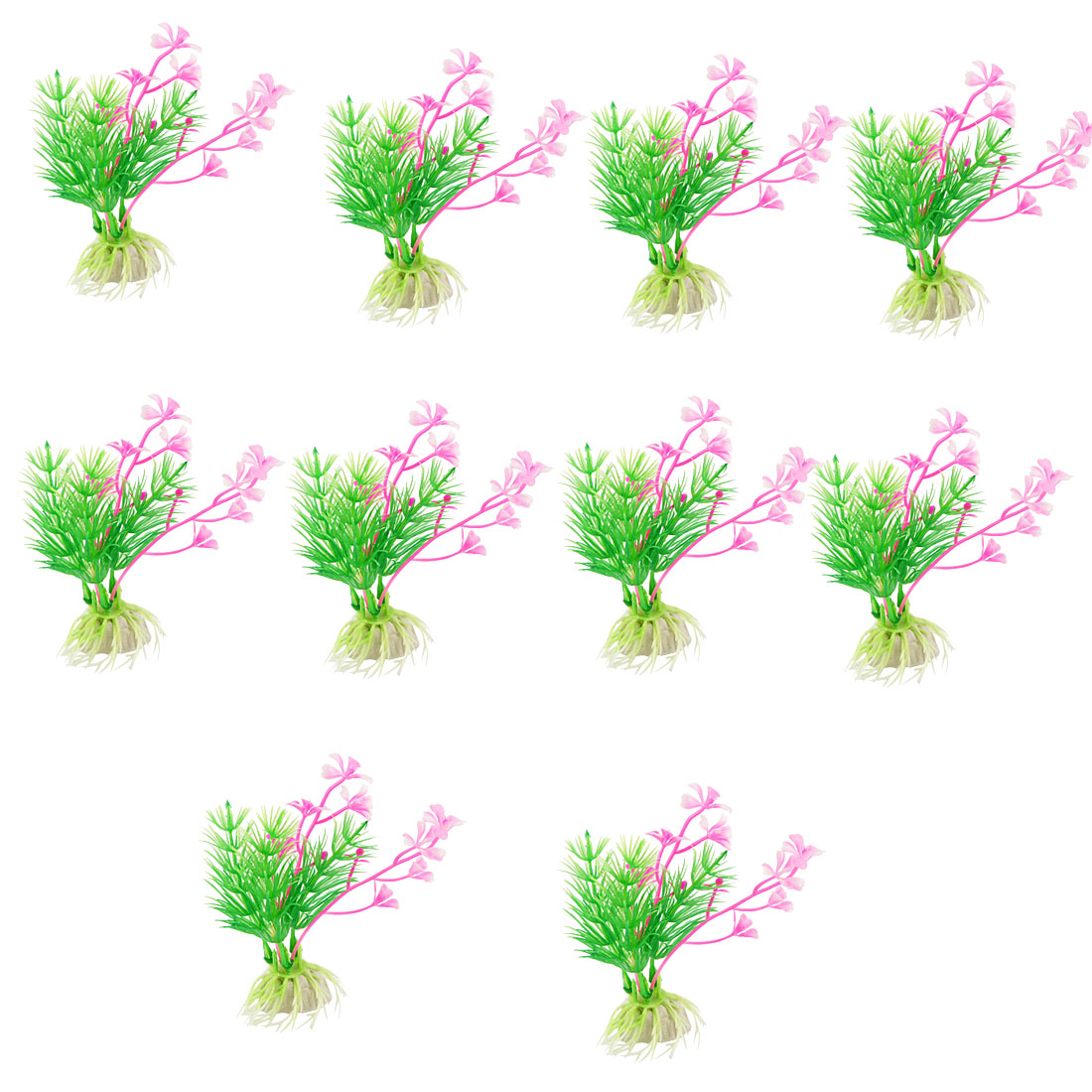 "Fish Tank Ornament Green Pink Plastic 4.3"" High Plant Grass 10 Pcs"