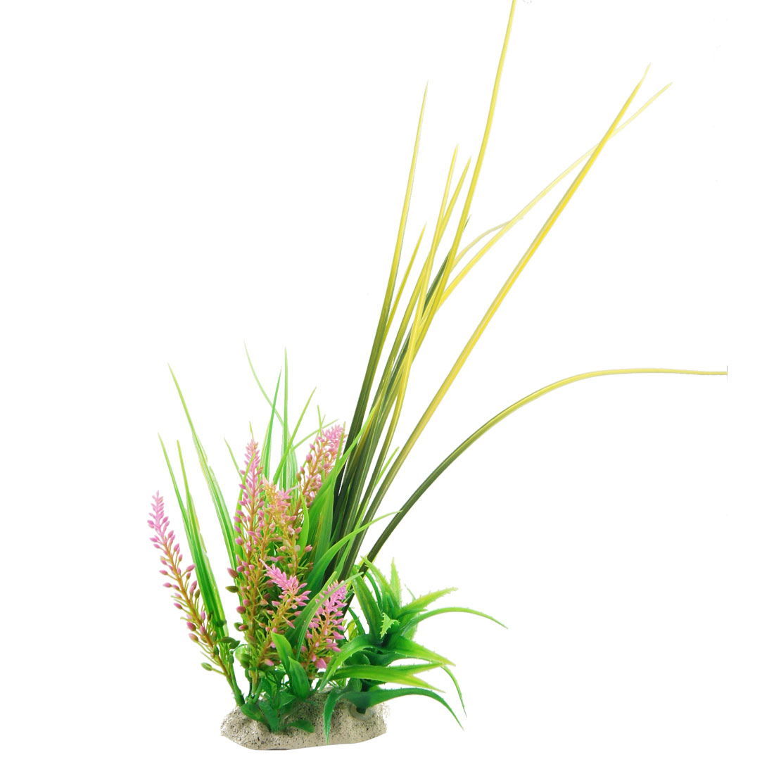 Plastic Pink Flower Green Leaf Plant Grass Decoration for Fish Tank