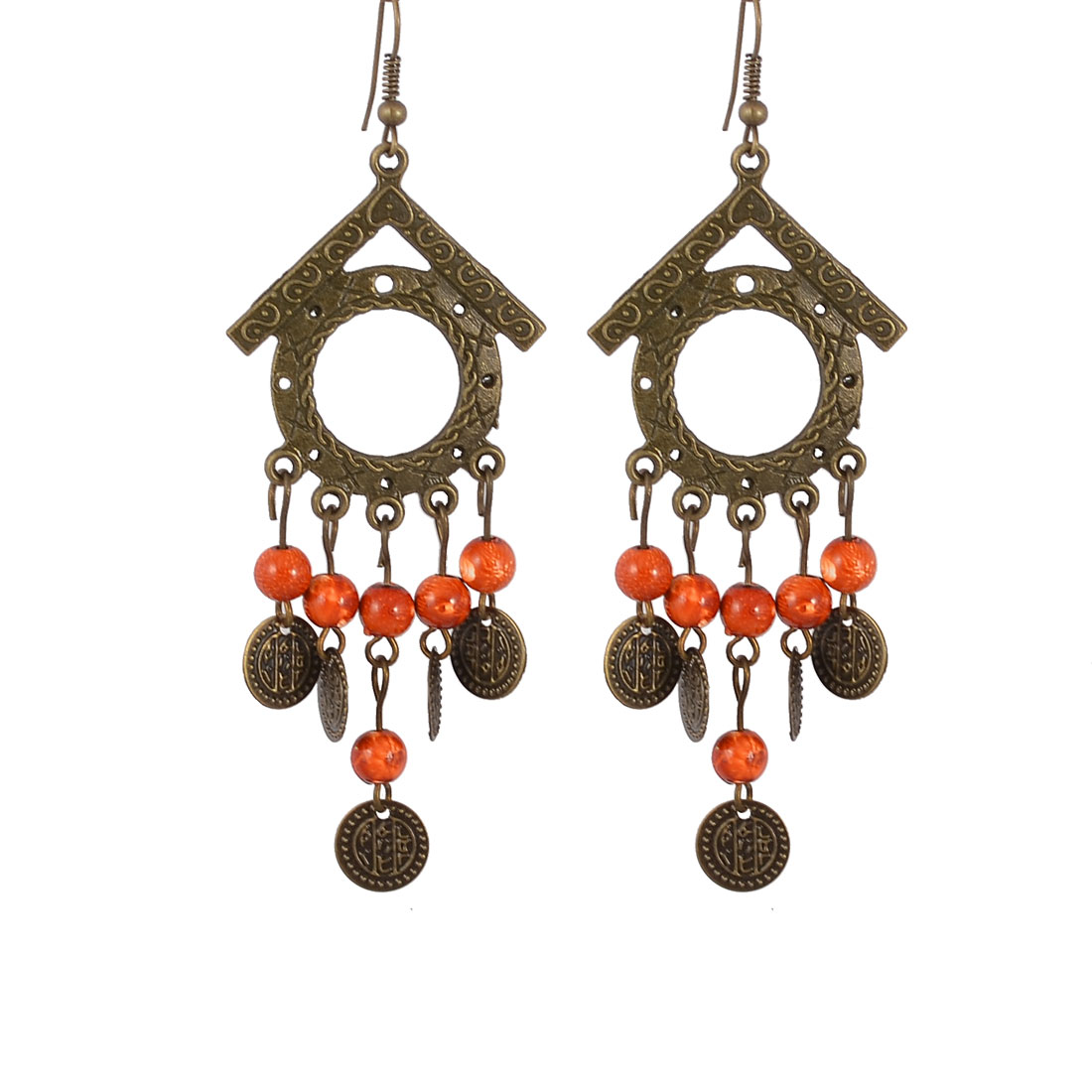 Woman Bronze Tone House Shape Dark Orange Beads Metal Circles Pendant Hook Earrings