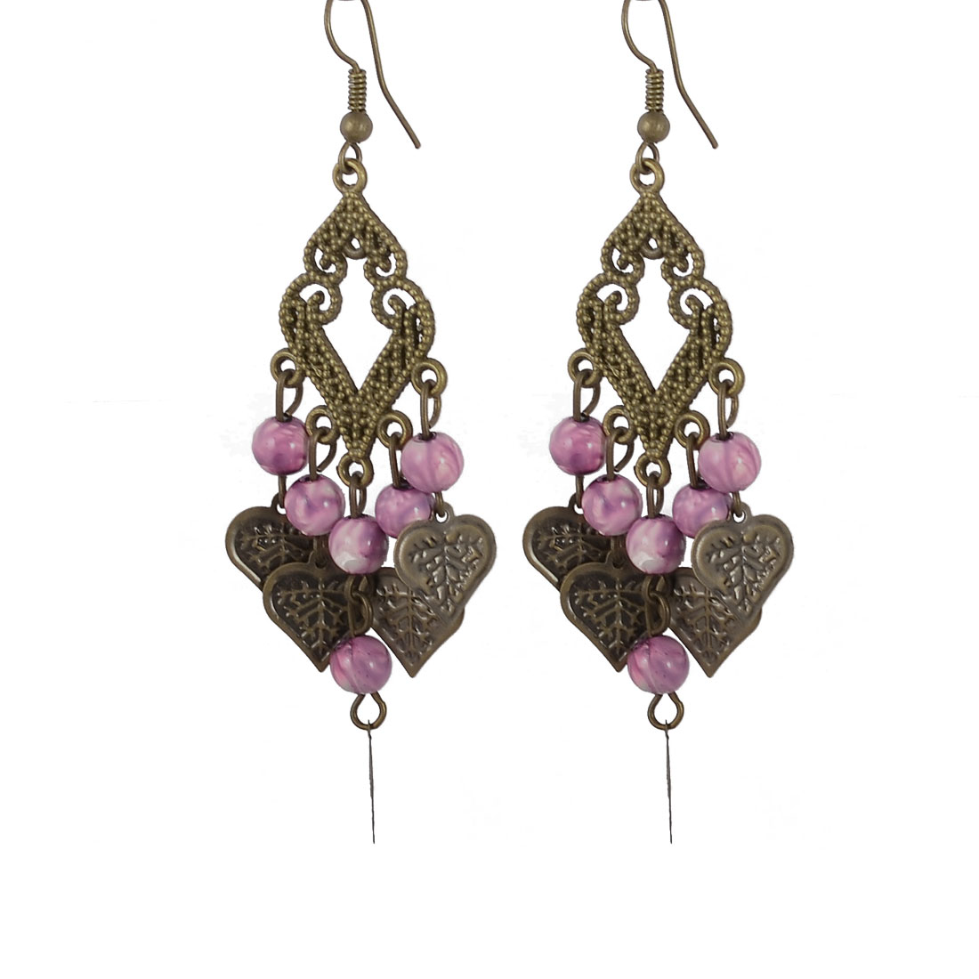 Purple Beads Leaf Shape Sheet Bronze Tone Rhomboid Hook Earrings