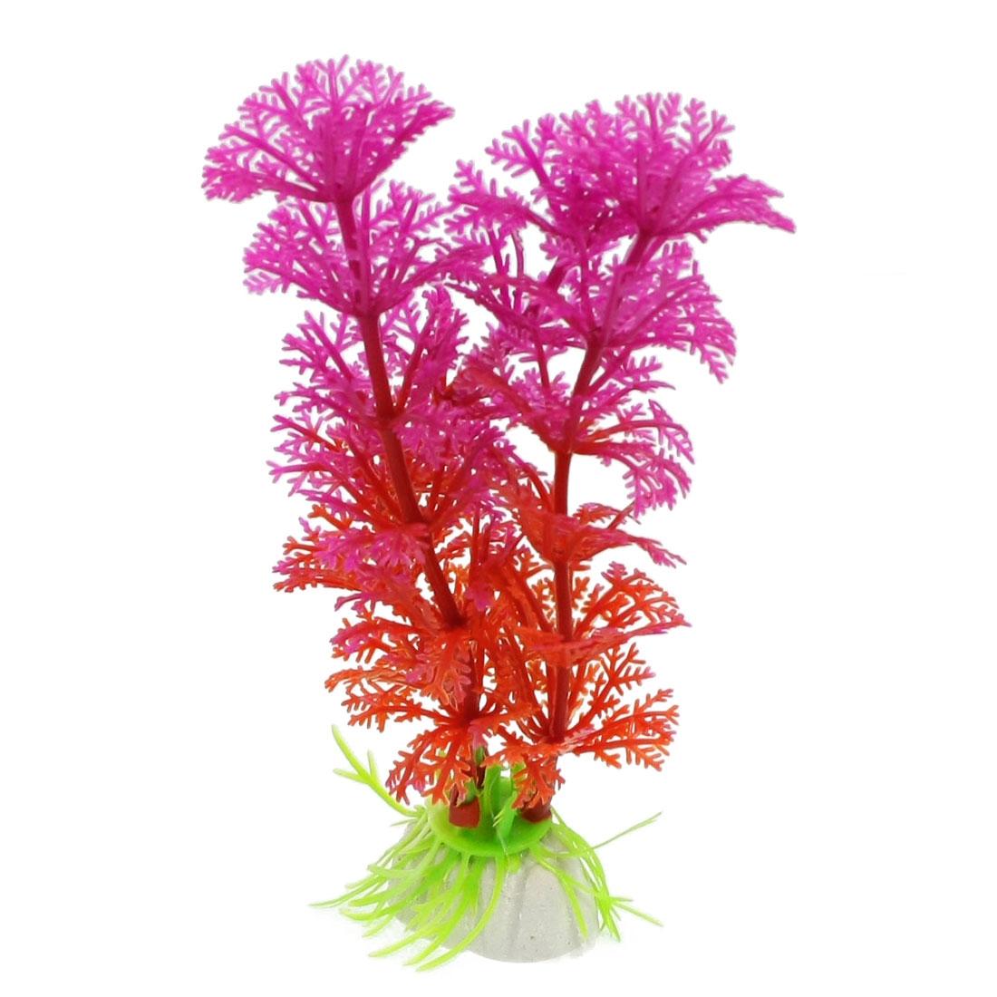 "4.7"" Height Fish Tank Plastic Fuchsia Red Artificial Plants Ornament 2 Pcs"