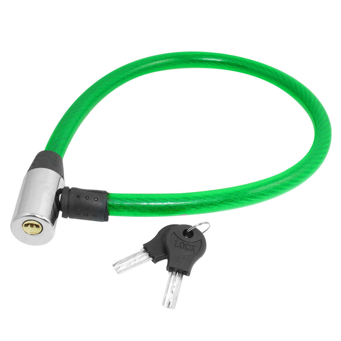 Bicycle Motorcycle Security Green Plastic Coated Cable Lock w 2 Keys