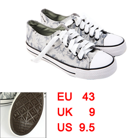 Mens Round Toe Stylish Light Gray Casual Rubberized Soles Canvas Sneakers US 9.5 Women US 11.5