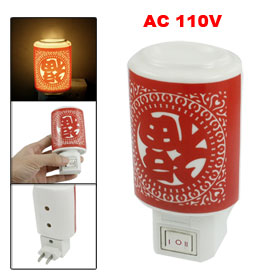 AC 110V Cylinder Shape Orange Light Ceramic Housing Fragrant Night Lamp
