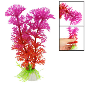 "4.7"" Height Fish Tank Plastic Fuchsia Red Artificial Plants Ornament 2 Pcs"
