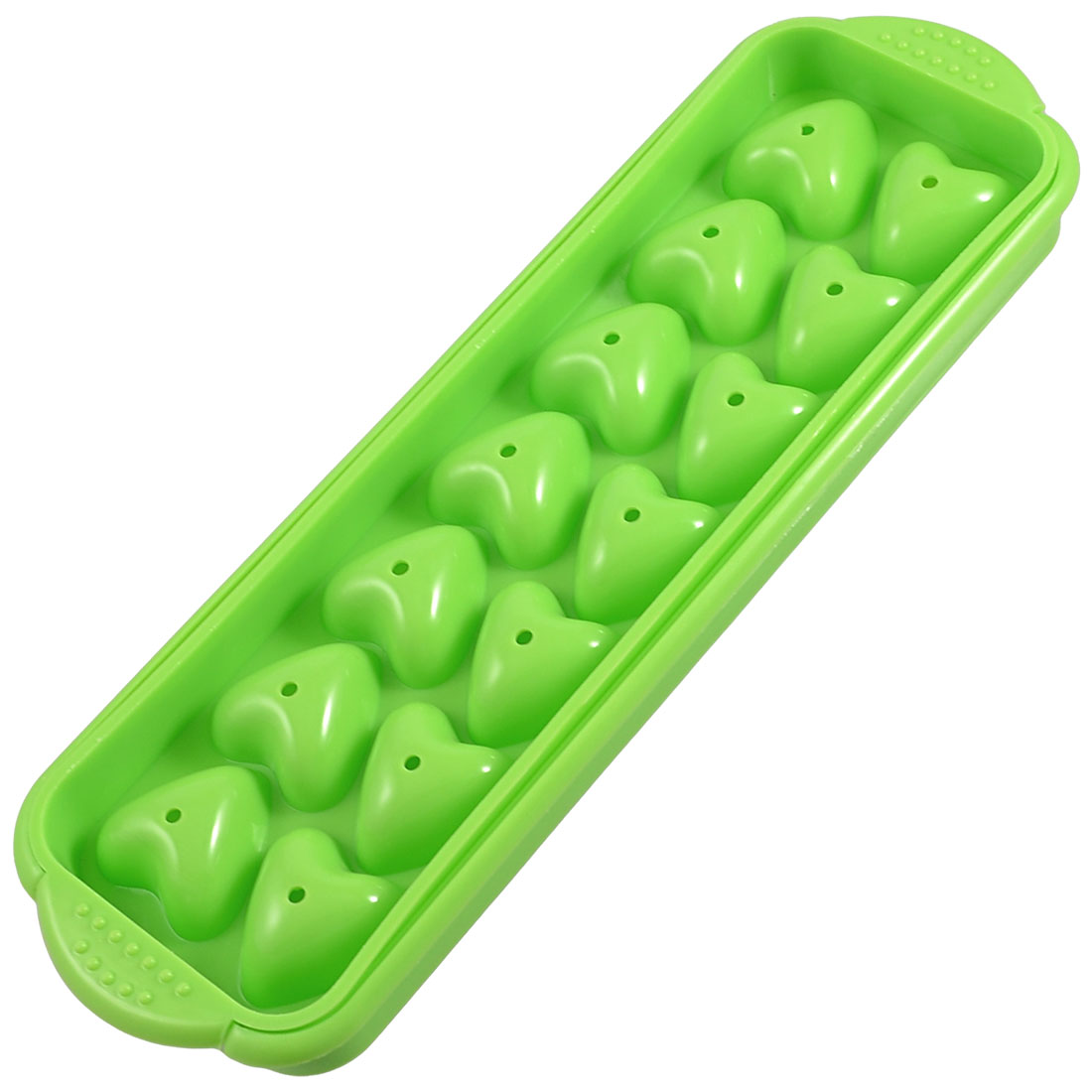 Heart Shape Green Plastic Chocolate Biscuit Mold Ice Cube Tray 2 Pcs