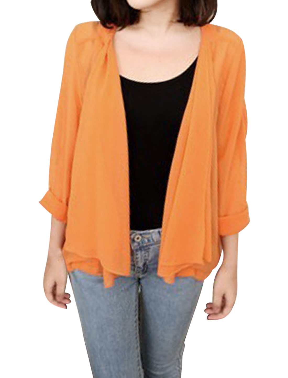 Pleated Shoulders Long Sleeve Front Opening Orange Color Jacket XS for Lady