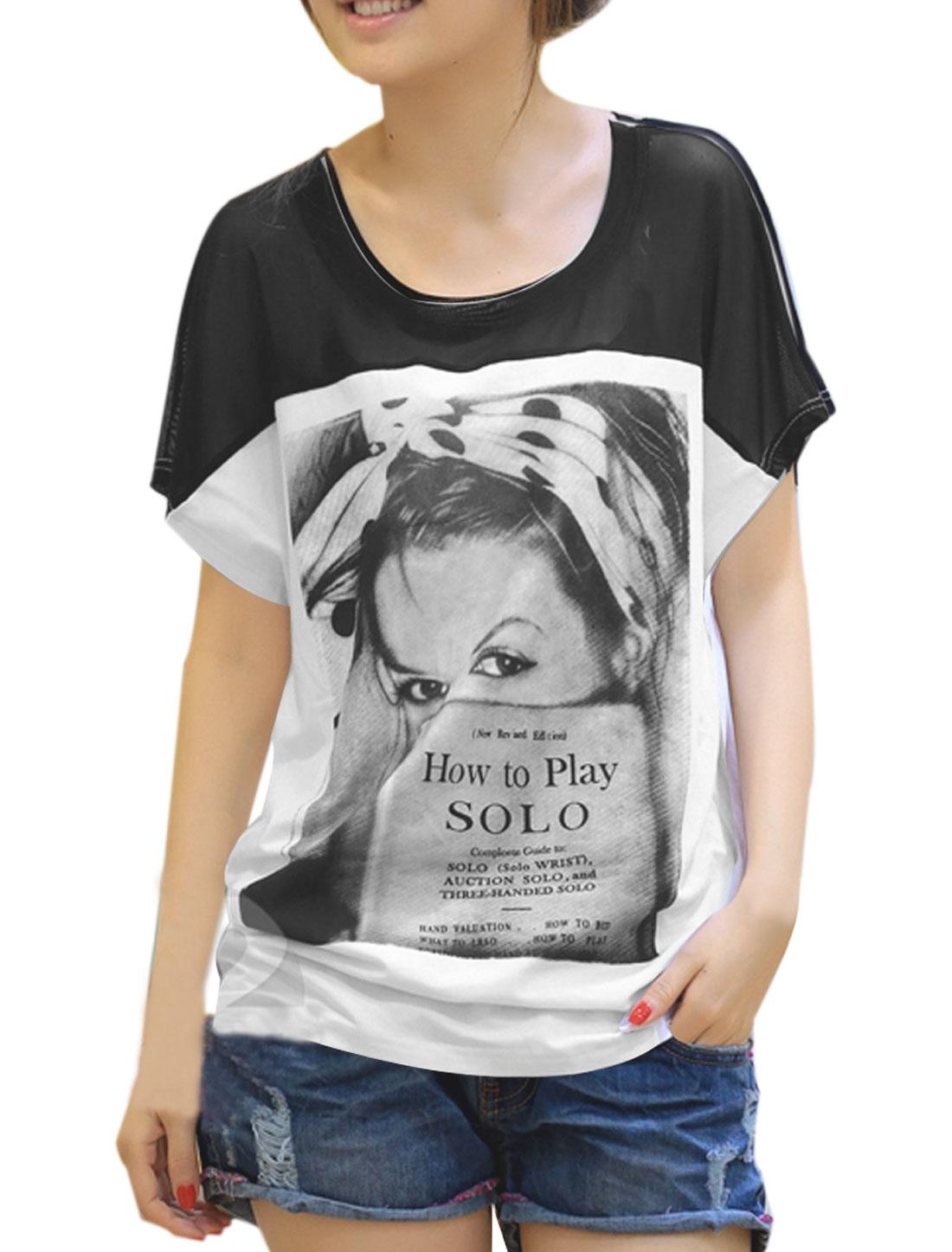 Woman Scoop Neck Portrait Letters Pattern Front Black White Shirt XS