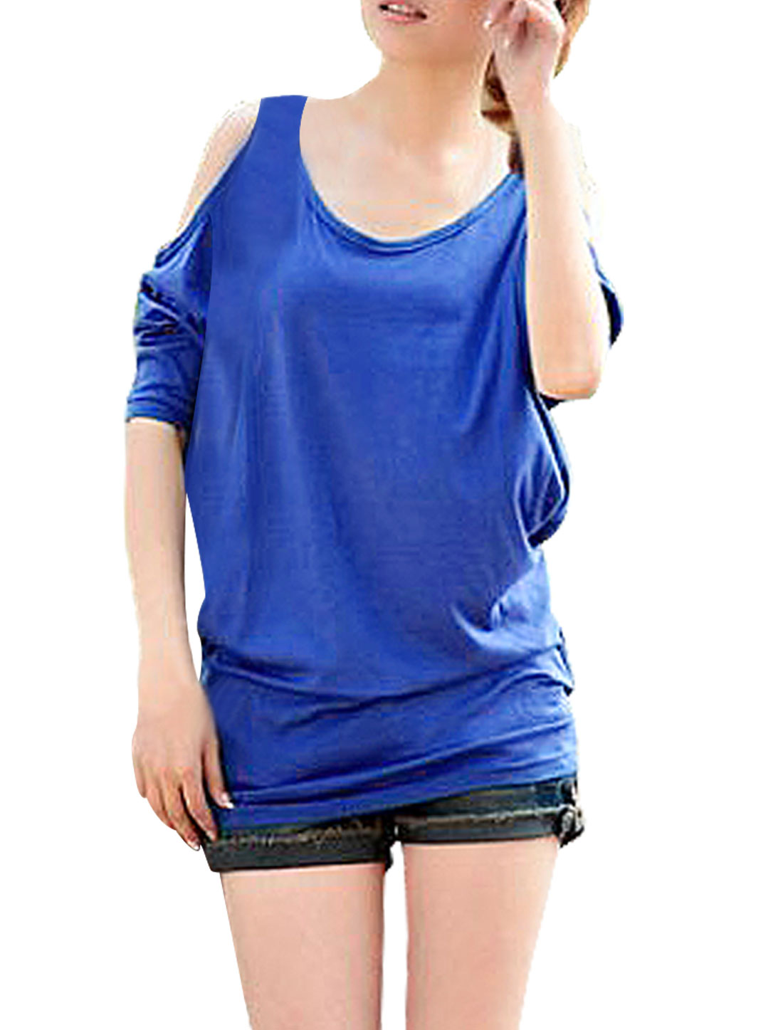 Lady Blue Scoop Neck Dolman Sleeve Cut Out Shoulder Loose Top Shirt XS