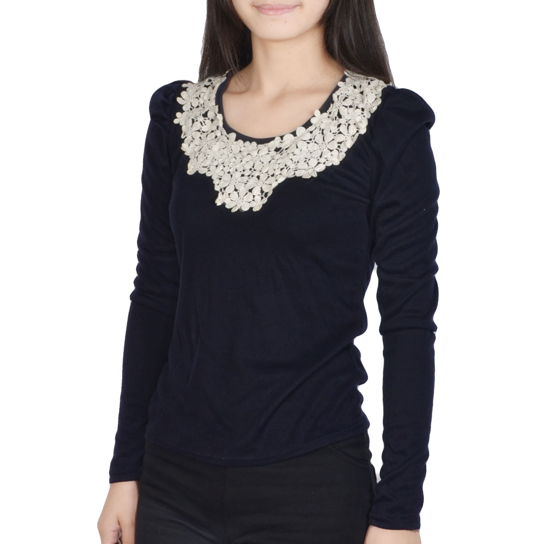 Lady Steel Blue Scoop Neck Long Sleeve Flower Crtochet Embellished Top Shirt XS