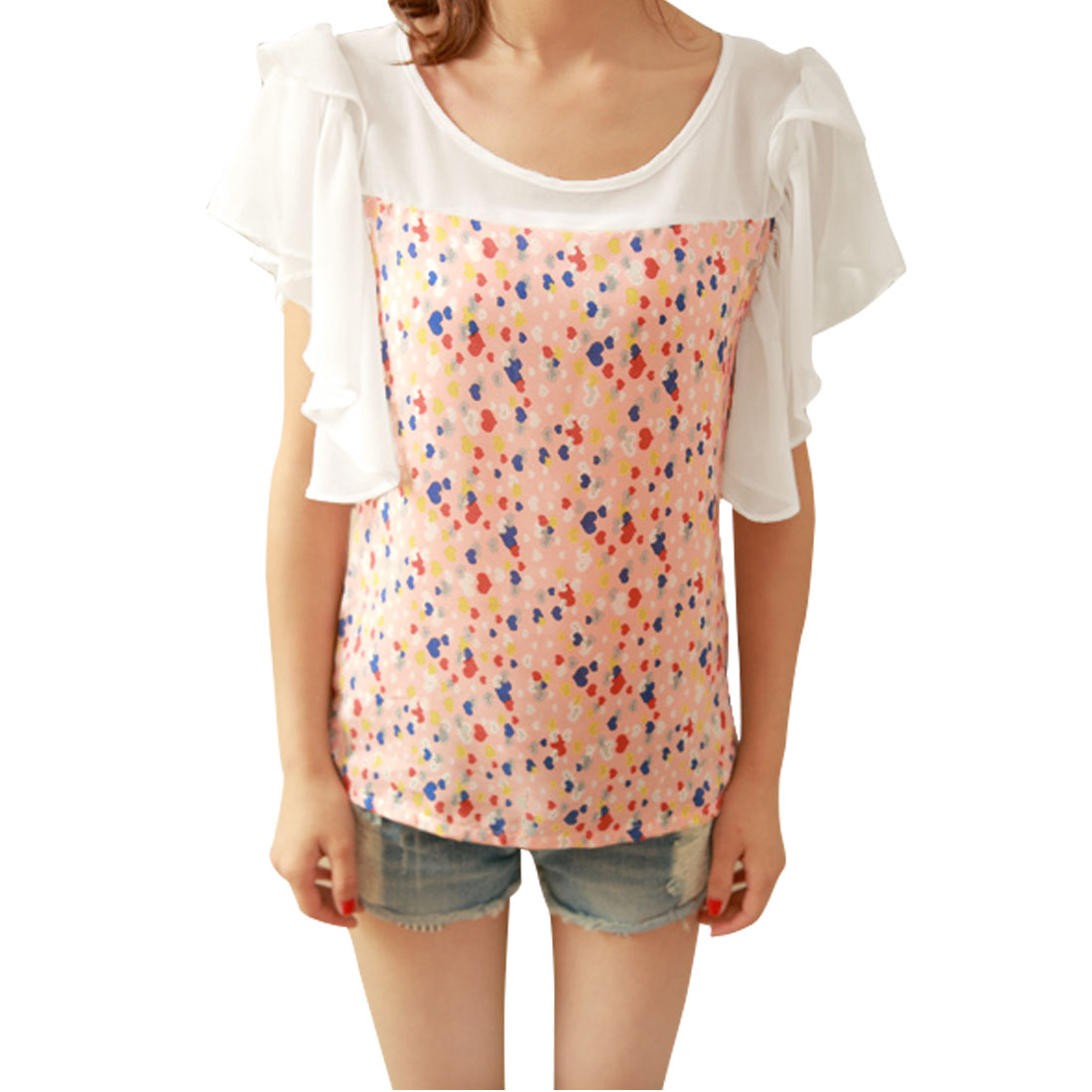 Lady Multicolor Scoop Neck Short Sleeve Semi Sheer Top Hearts Splice Blouse XS