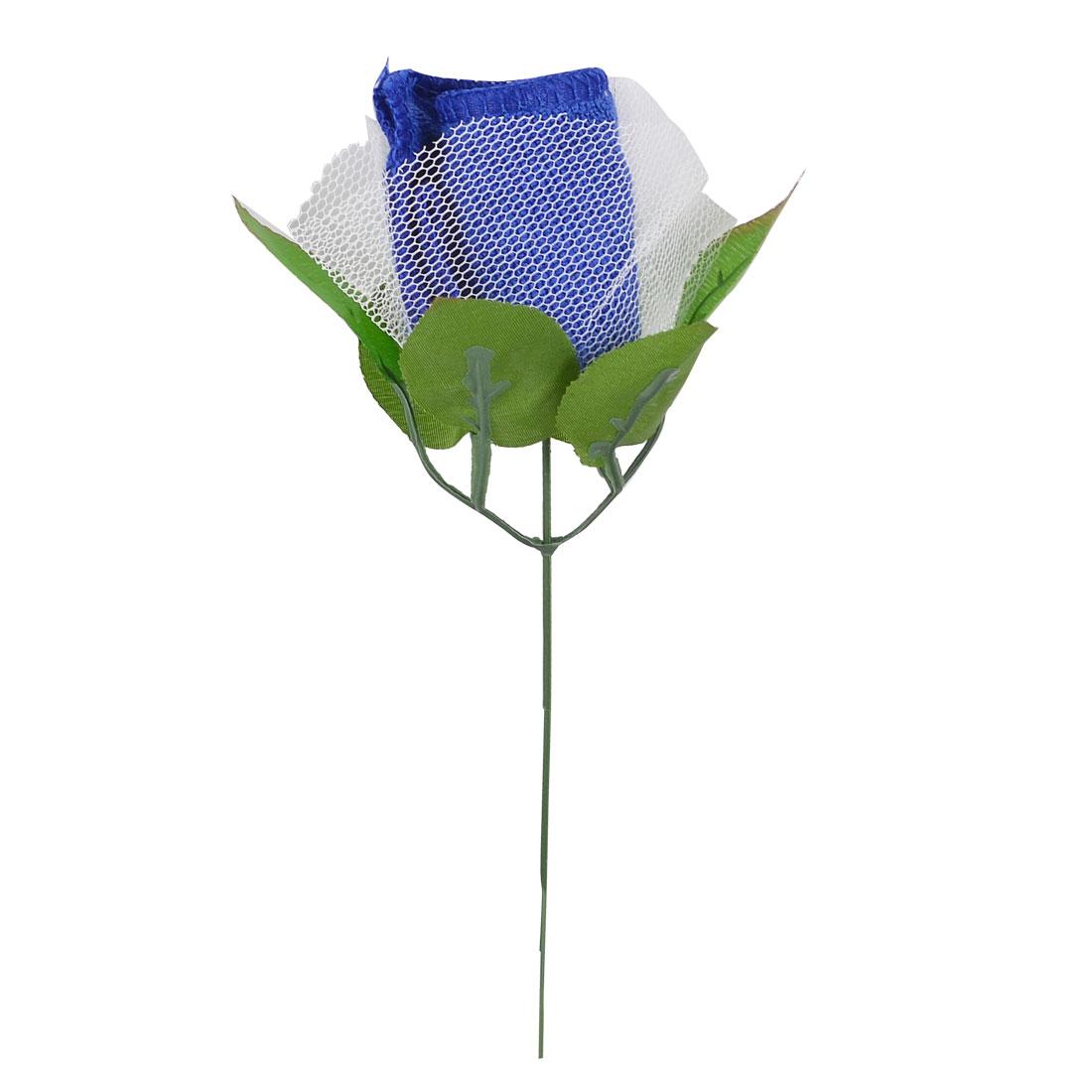 Ladies Dark Blue Cotton Rose Flower Plastic Green Leaves Mini Washcloth Towel