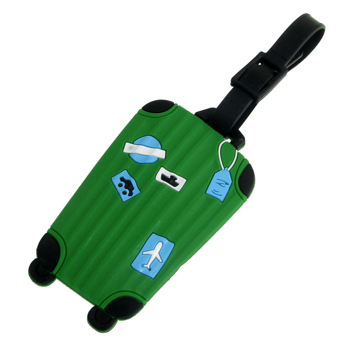 Luggage Shaped Green Soft Plastic Tag for Suitcase