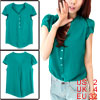 Ladies Green Short Sleeve Single Breasted Front Pullover Summer Top Shirt XS