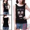Ladies Black Scoop Neck Sleeveless Flower Skull Design Tank Top XS