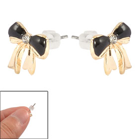 Plastic Crystal Inlaid Metal Black Butterfly Knot Shape Stud Earrings