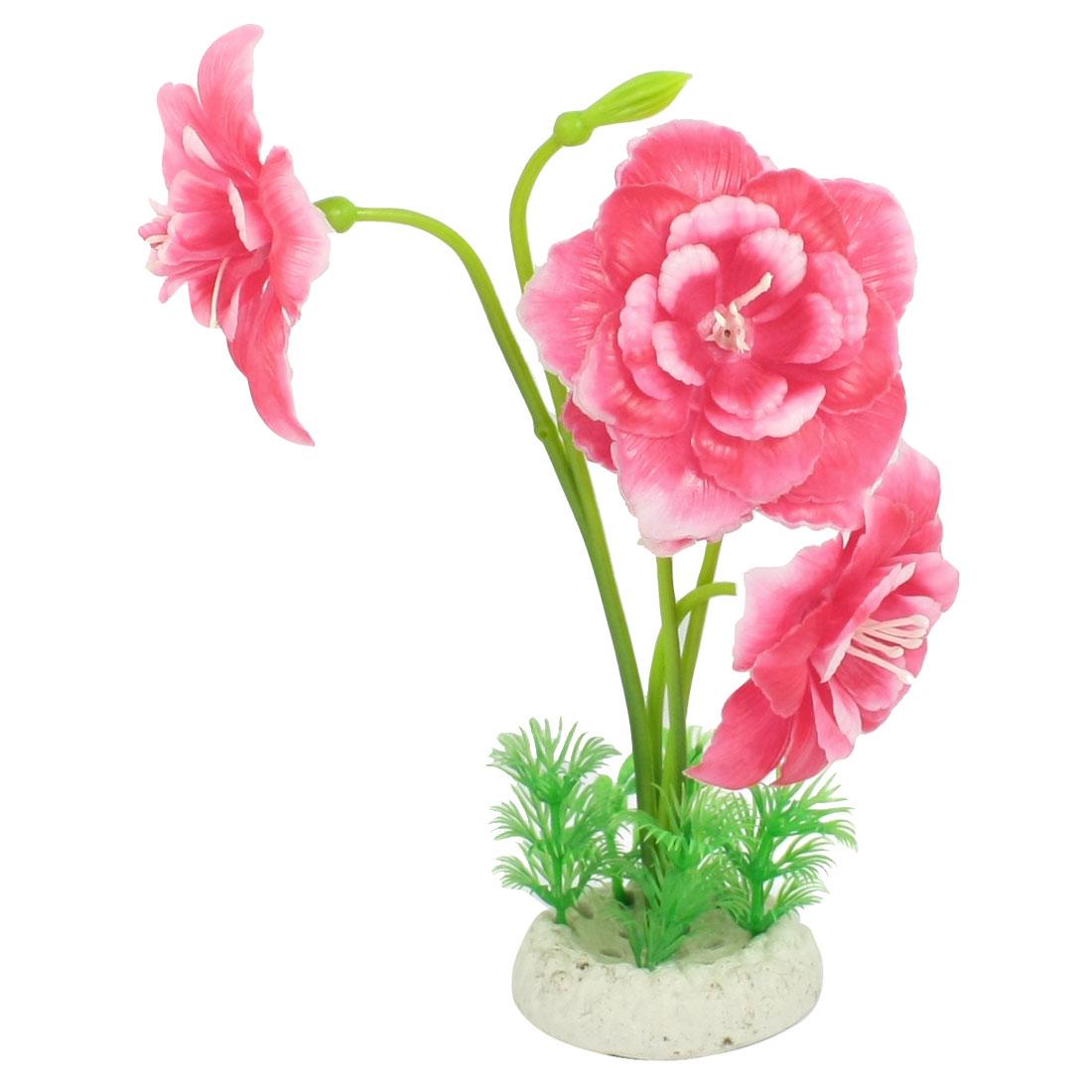 "Aquarium Landscaping Round Base Red Flower Plastic Plants 8.9"""