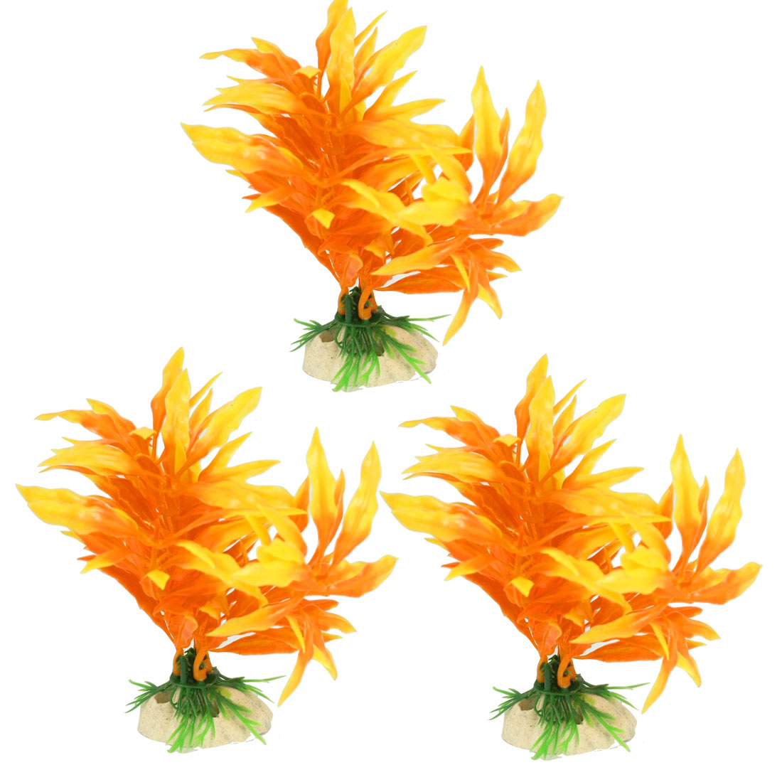 3 Pcs Artificial Ceramic Base Orange Yellow Plastic Plants for Fish Tank