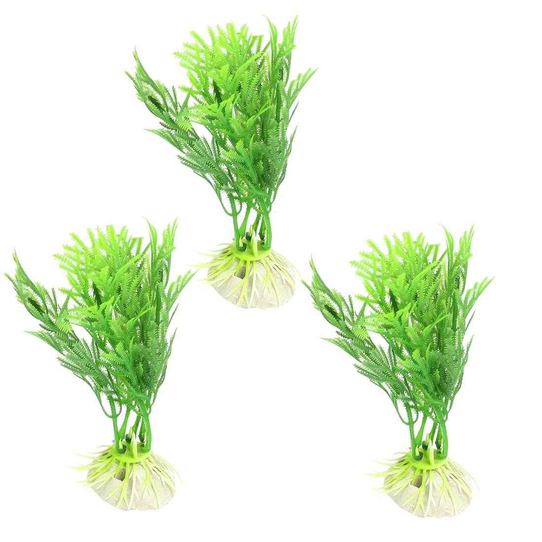 3 Pcs Fish Tank Aquascaping Green Plastic Plants Grass