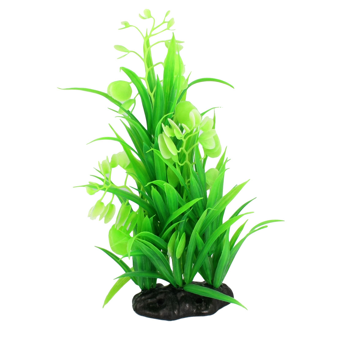 Fish Tank Artificial Ceramic Base Long Leaf Green Plastic Plants 10""