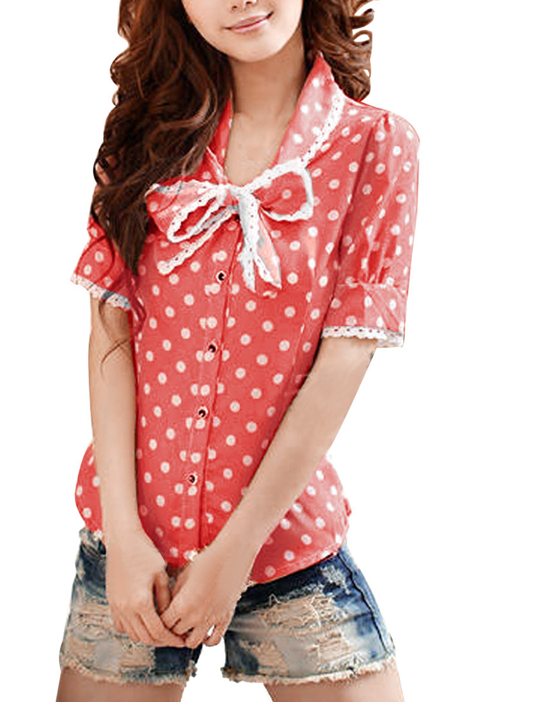 Woman Dotted Short Sleeve Bow Ties Neckline Blouse Watermelon Red White M