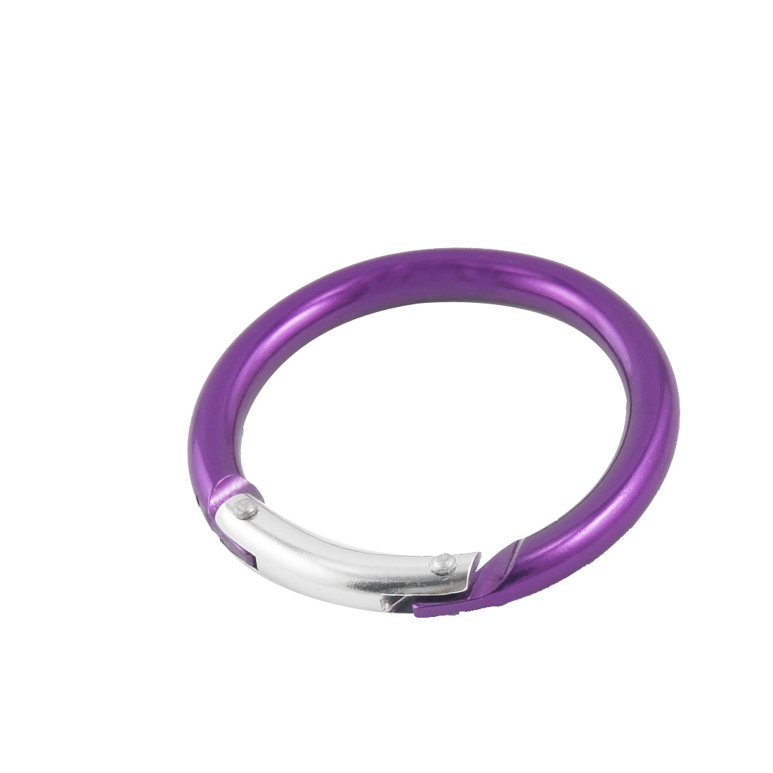 Purple Sliver Tone Circle Shaped Keys Bottle Holder Carabiner 5cm Diameter