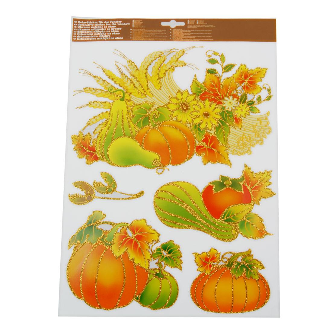 Removable Glittery Pumpkin Flower Pattern PVC Decoration Wall Sticker Set