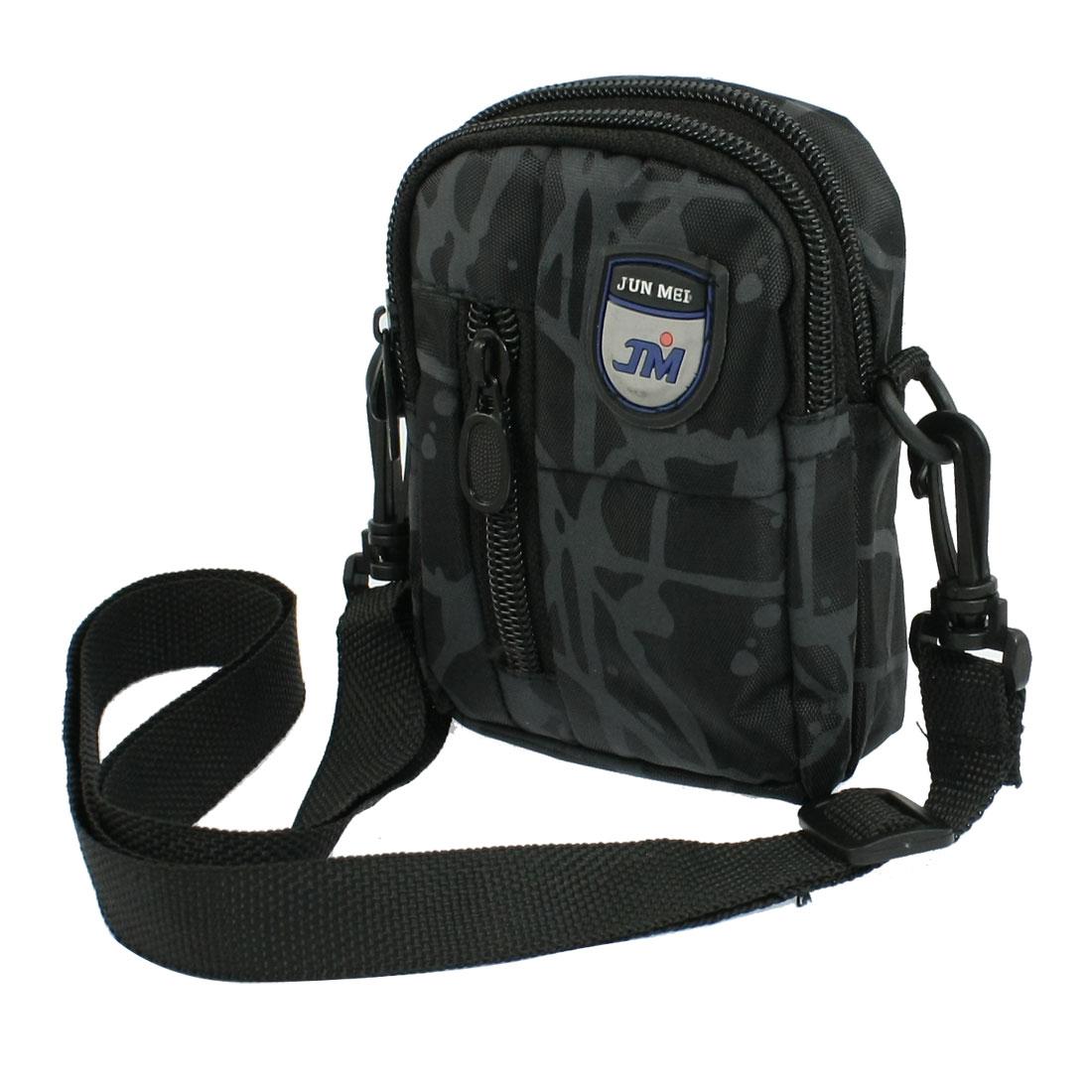 Black Gray Canvas 3 Zipper Closure Waist Bag Holder for Camera