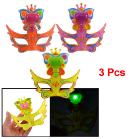 3 Pcs Yellow Purple Orange Plastic Fox Mask LED Light Toy for Children