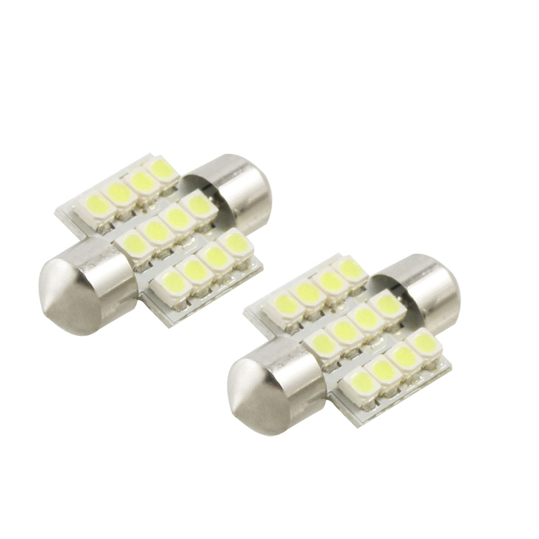 "2 Pcs 12V White 1.25"" 31mm 12-SMD 3528 DE3175 DE3022 LED Bulbs For Car Dome Lights"