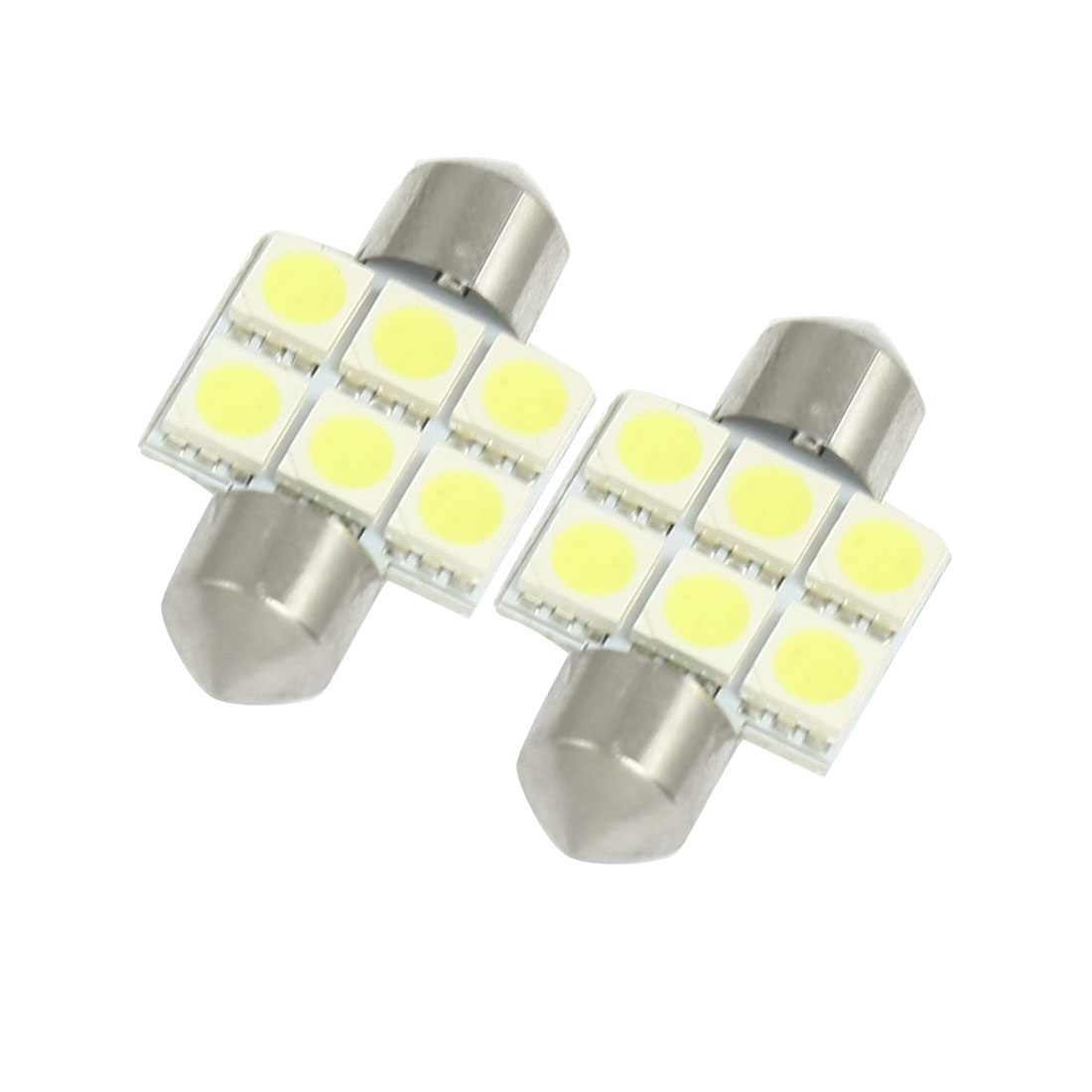 2 Pcs Car 31mm White 5050 SMD 6 LED Festoon Dome Light 3021 3022 Bulb DC 12V