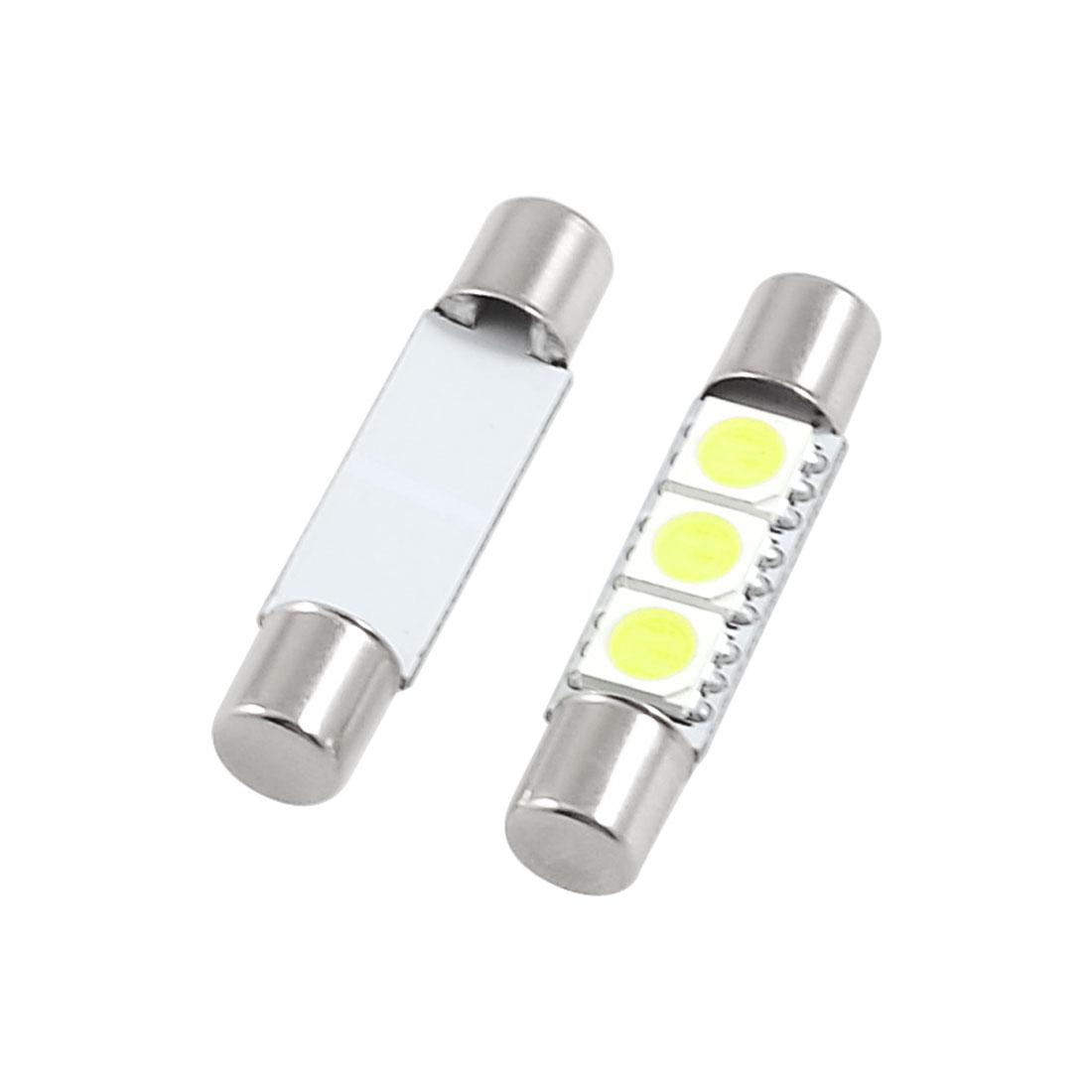 2 Pcs Car Flat Head Canbus Error Free 31mm 3 5050 SMD LED Dome Lights