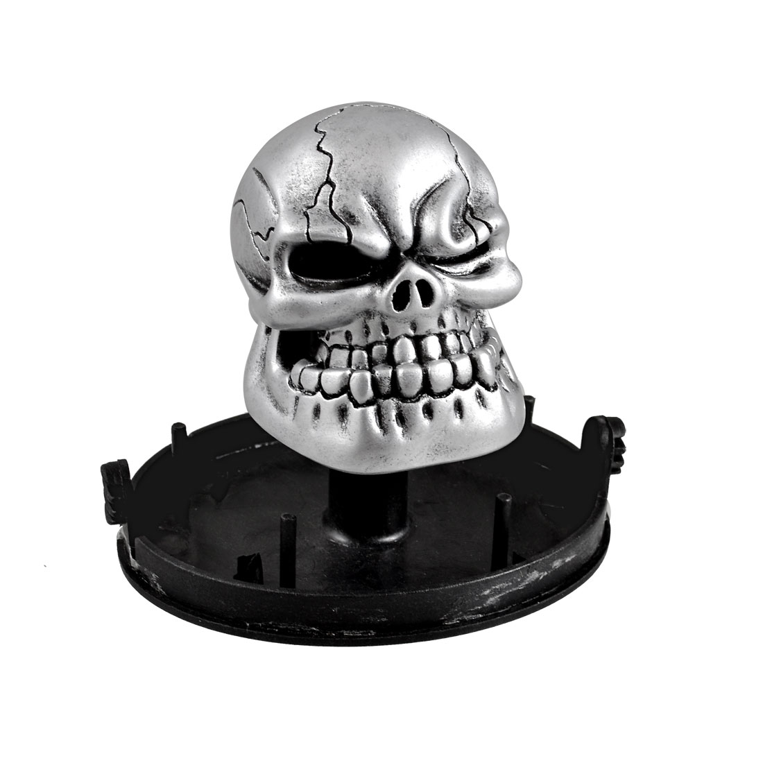 Auto Car Silver Tone Metal Skull Head Style Gear Shift Knob